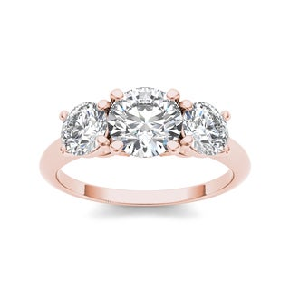 De Couer 14k Rose Gold 2ct TDW Diamond 3-stone Ring (H-I, I1-I2)