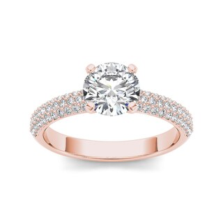 De Couer 14k Rose Gold 1 1/2ct TDW Diamond Pave Engagement Ring (H-I, I1-I2)