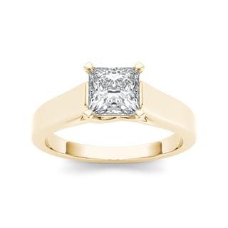 De Couer 14k Yellow Gold 1 1/4ct TDW Diamond Princess-cut Solitaire Ring (H-I, I1-I2) with Bonus Necklace