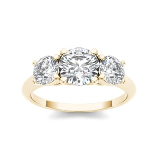 De Couer 14k Yellow Gold 2ct TDW 3-stone Diamond Ring (H-I, I1-I2)