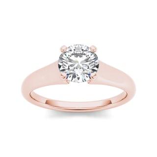 De Couer 14k Rose Gold 1ct TDW Diamond Solitaire Engagement Ring (H-I, I1-I2)