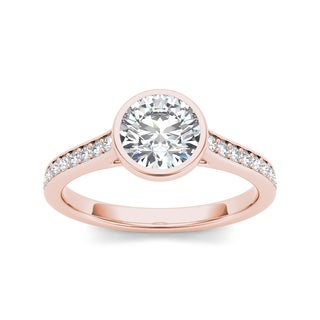 De Couer 14k Rose Gold 1 1/4ct TDW Bezel Diamond Ring (H-I, I1-I2)