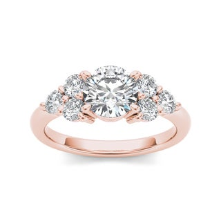 De Couer 14k Rose Gold 2ct TDW Diamond Ring (H-I, I1-I2)