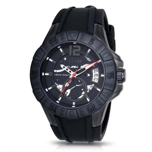 Guess Men's W0034G3 Magnum Black Rubber Strap Watch