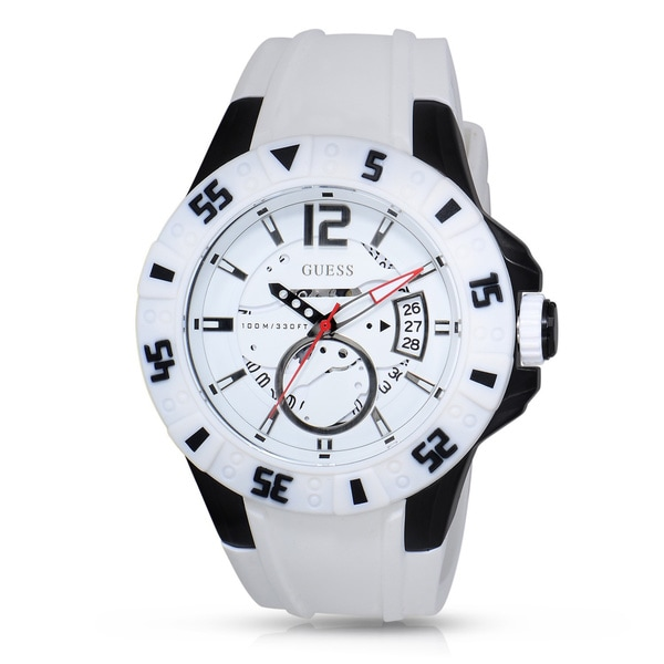 Guess Men's W0034G5 Stainless Steel White Silicone Skeleton Dial Watch