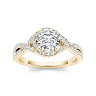 De Couer 14k Yellow Gold 1 1/4ct TDW Diamond Ring (H-I, I2)