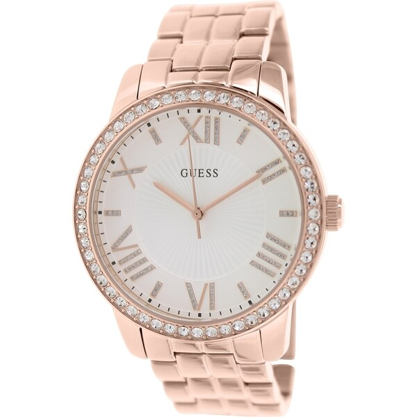 Guess Women's U0329L3 Rose Goldtone Oversized Crystal Watch