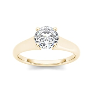 De Couer 14k Yellow Gold 1ct TDW Solitaire Diamond Engagement Ring (H-I, I2)