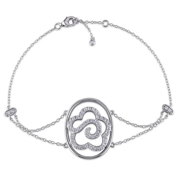Miadora Sterling Silver White Topaz Flower Bracelet
