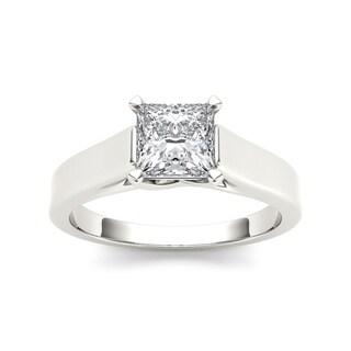 De Couer 14k White Gold 1 1/4ct TDW Diamond Princess Cut Solitaire Engagement Ring (H-I, I2) with Bonus Necklace