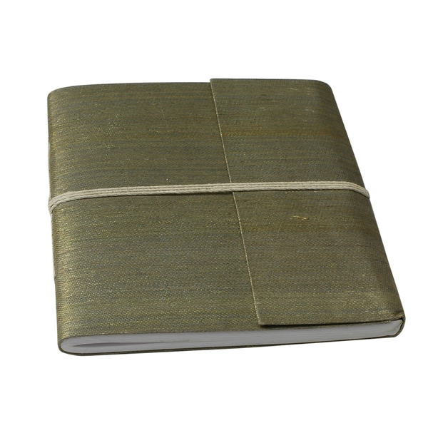 Hand-woven Yellow/ Green Metallic Silk Damask Weave Notebook (India)