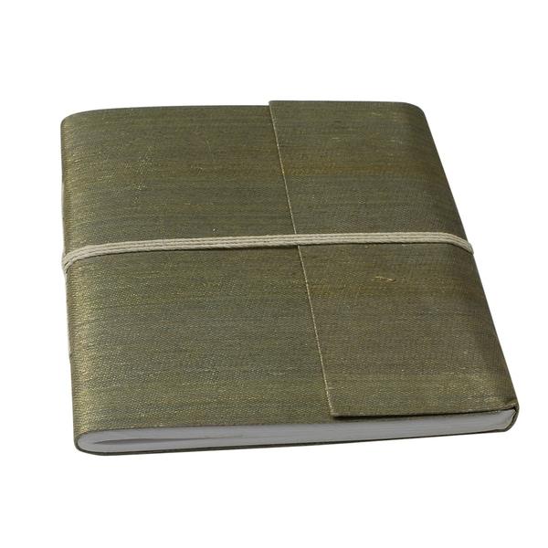 Hand-woven Yellow/ Green Metallic Silk Damask Weave Notebook (India)