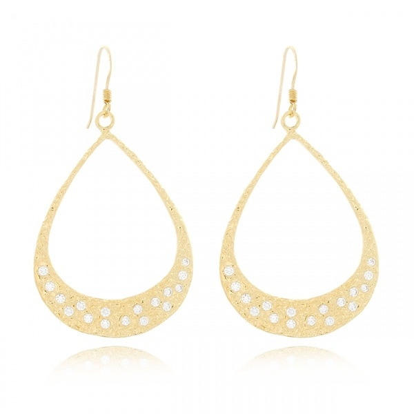 Belcho Gold Overlay Cubic Zirconia Hammered Flat Teardrop Earrings