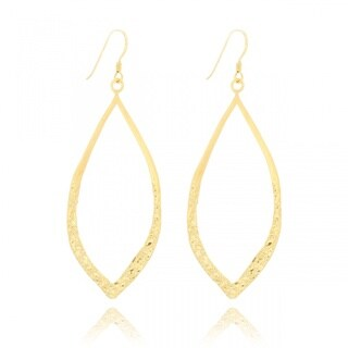Belcho Gold Overlay Leaf-shaped Textured Dangle Earrings