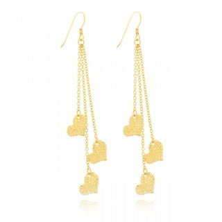 Gold Overlay Hammered Hearts Dangle Chain Earrings