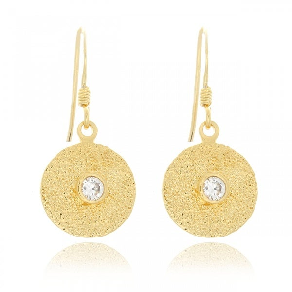 Belcho Gold Overlay Cubic Zirconia Textured Round Plate Dangle Earrings