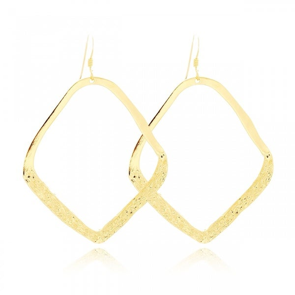 Belcho Large Oblique Square Half Textured Hook Earrings