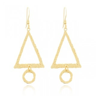 Belcho Textured Triangle with Circle Dangle Earrings