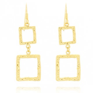 Belcho Hammered Cascading Squares Dangle Earrings