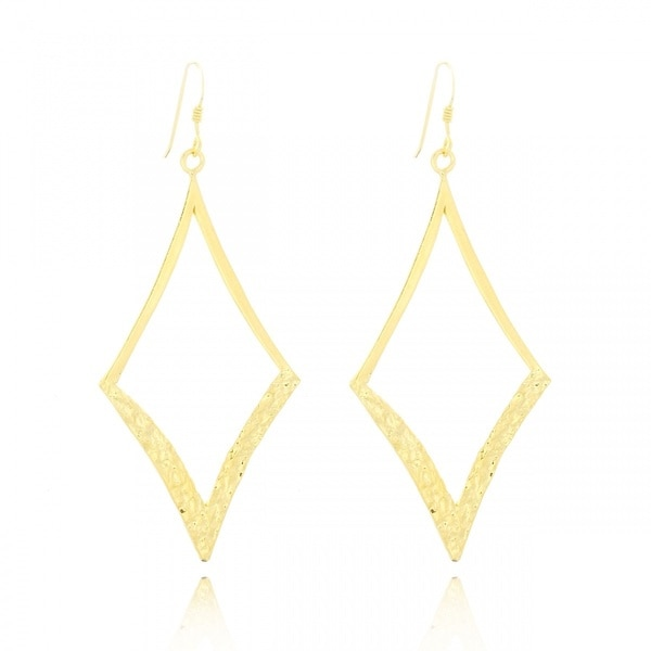 Belcho Gold Overlay Diamond Square Half Textured Dangle Hook Earrings