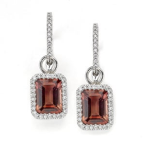 Diamonds for a Cure 14k White Gold Dangling Pink Tourmaline Earrings with Diamonds