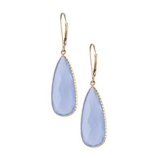 14k Yellow Gold Blue Pear Shape Chalcedony Bezel Earrings