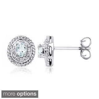 Sterling Silver Aquamarine Gemstone and Diamond Accent Earrings