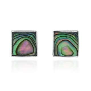 Cute Inlay Abalone Round .925 Silver Stud Earrings (Thailand)
