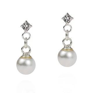 Simple Elegance Freshwater Pearl Drop .925 Sterling Silver Cubic Zirconia Post Earrings (Thailand)