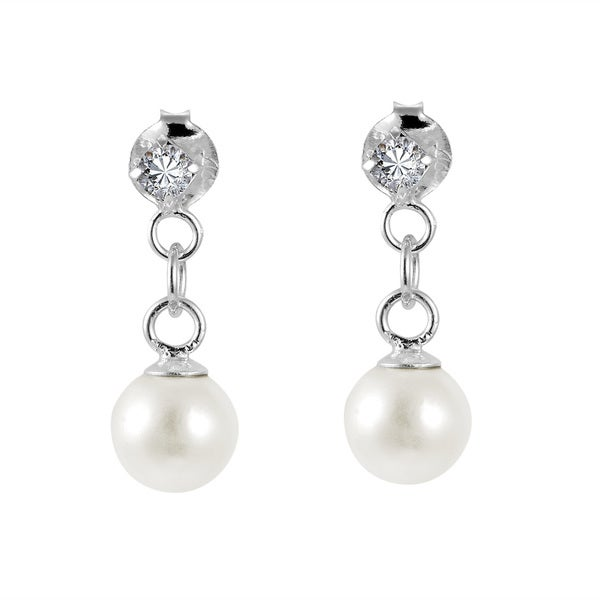 Simple Elegance Freshwater Pearl Drop .925 Sterling Silver Cubic Zirconia Post Earrings (Thailand)