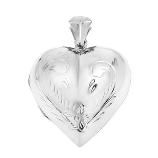 .925 Sterling Silver Carved Puffy Heart Locket 33 mm Pendant (Thailand)