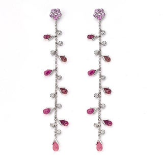 Diamonds for a Cure 18k White Gold Tourmaline Pink Sapphirre Dangling Earrings with Diamonds