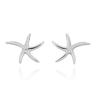 .925 Sterling Silver Adorable Wavy Starfish Stud Earrings (Thailand)