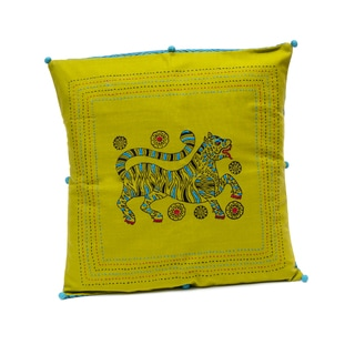 New Tiger 16-inch Hand-block Print Cushion Cover (India)