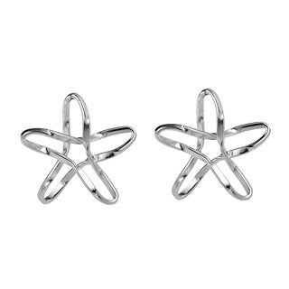 Sterling Silver Unique Wire Twist Star Stud Earrings (Thailand)