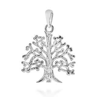 .925 Sterling Silver Textured 'Tree Of Life' Branches Root Pendant (Thailand)