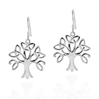 .925 Sterling Silver Tree Of Life Trinity Celtic Knot Earrings (Thailand)