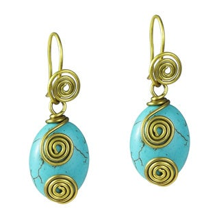 Brass Romantic Swirl Oval Turquoise Dangle Earrings (Thailand)