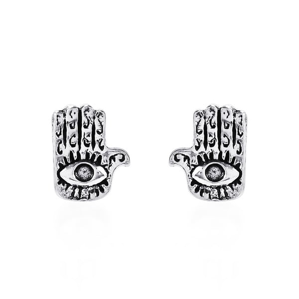 .925 Sterling Silver Jewish Hamsa Hand Evil Eye Stud Earrings (Thailand)