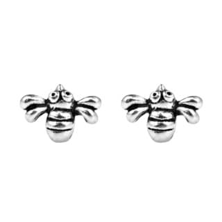 .925 Sterling Silver Petite Adorable Bumble Bee Stud Earrings (Thailand)
