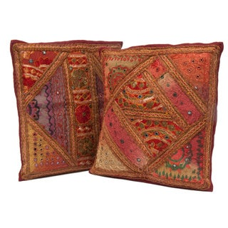 Set of Two Handmade Patchwork Cushion Covers (India)