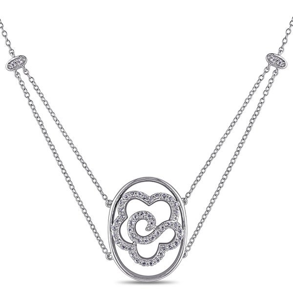 Miadora Sterling Silver White Topaz Flower Necklace