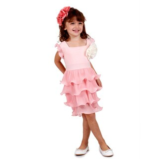 Girls Pretty Pink Scalloped Dress