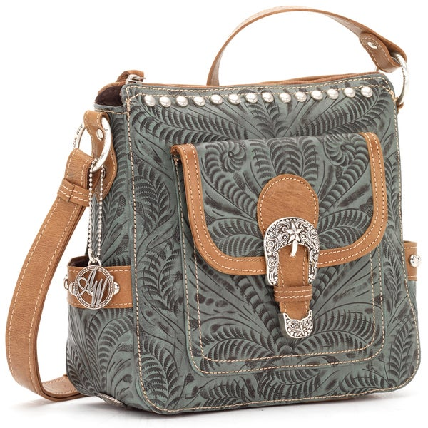 American West Pale Turquoise Leather Concealed Carry Handbag