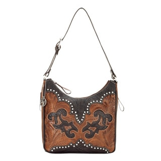 American West Antiqued Brown Leather Concealed Carry Handbag