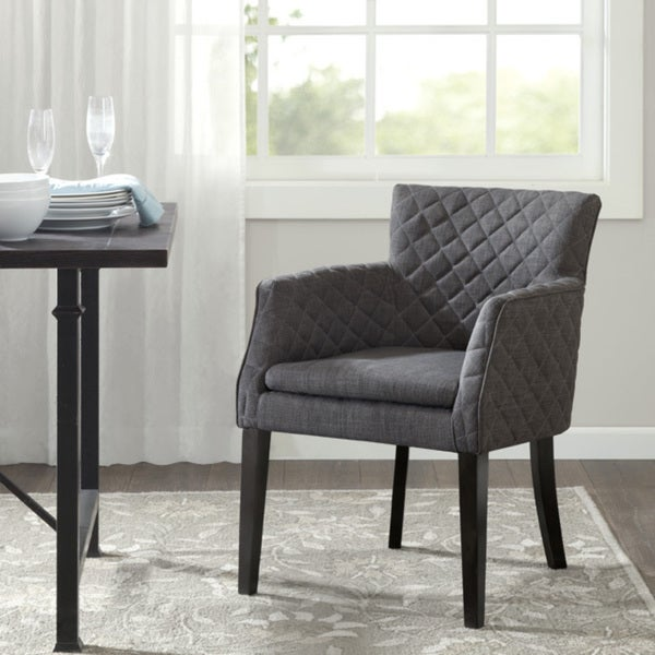 Rochelle Charcoal Grey Pirelli-webbed Mid-century Dining Chair