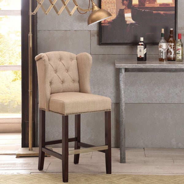 Margo Linen Fabric Tufted Wing-back Counter Stool - Overstock Shopping - Great Deals on Bar Stools
