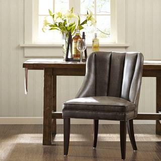 Korey Mink Grey and Black Channel-back Dining Chair
