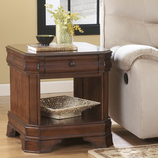 Ashley Mckenna End Table Signature Designs by Ashley McKenna Rectangular Dark Brown End Table
