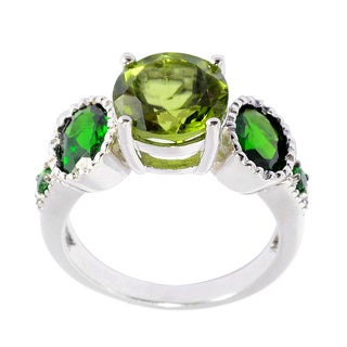 Sterling Silver Peridot and Chrome Diopside 5-stone Ring